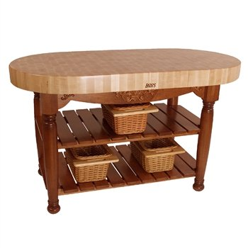American Heritage Harvest Kitchen Island with Butcher Block Top Base Finish: Warm Cherry