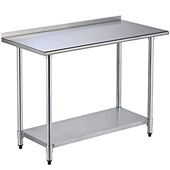 Awesome Uenjoy 24u0026quot; X 48u0026quot; Stainless Steel Work Prep Table With Backsplash Awesome Design