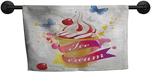Excellent Towel W 24 x L 8(inch) Durable Towel Cover,Ice Cream,Butterflies Cherries and Color Splashes Summer Spring Yummy Ice Cream Display,Multicolor