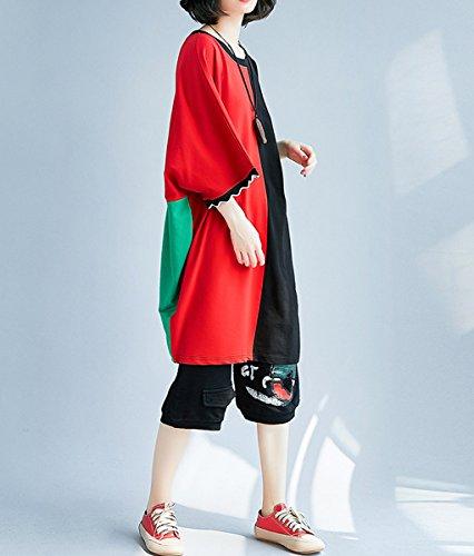 Oversize Long Ga1193 Women Shirt Mid T Solid ELLAZHU GA200 Hem Personality aqYBgxgp