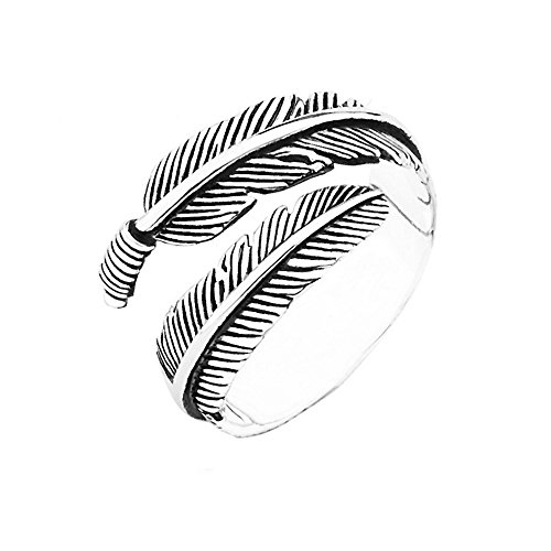 Gothic Silver Rings (Unisex Antique Vintage Gothic Punk Titanium Steel Black Silver Cast Open Ring Wrap Band Adjustable (Slender Feather))