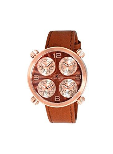 Adee Kaye Zone AK2275-MRGBN 48.66x48.60mm Stainless Steel Case Brown Calfskin Mineral Men's Watch