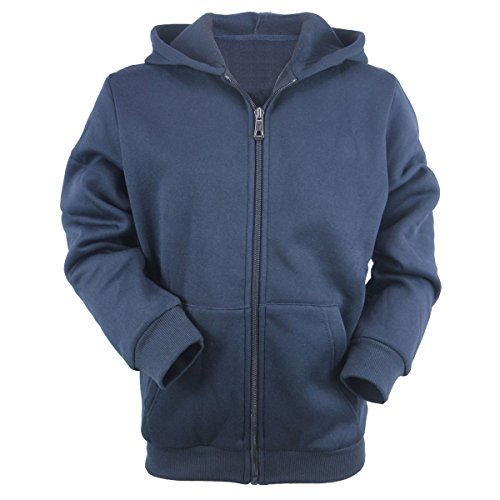 Urimoser Full Zip Hoodie Boys Athletic Plain Sports Child Sweatshirts (Navy, 14)