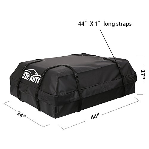 CZC AUTO Car Roof Cargo Carrier, 15 cu. ft Waterproof/Rainproof/Weatherproof Rooftop Storage Bag for Car SUV Van Sedan with Roof Rail Cross Bar Basket or Rack, Soft, Black by CZC AUTO (Image #4)