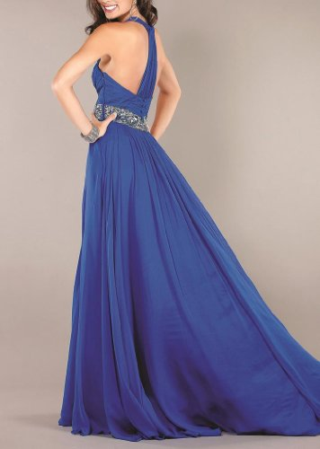 Regency Damen Abendkleider Herz Ausschnitt Chiffon Dearta Linie Pinsel Schleppe Aermellos Kleidungen Blau A qAwORxpPd