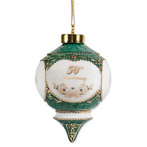 Happy 50th Wedding Anniversary Jewel Victorian 4.5 Inch Ball Hanging Ornament -