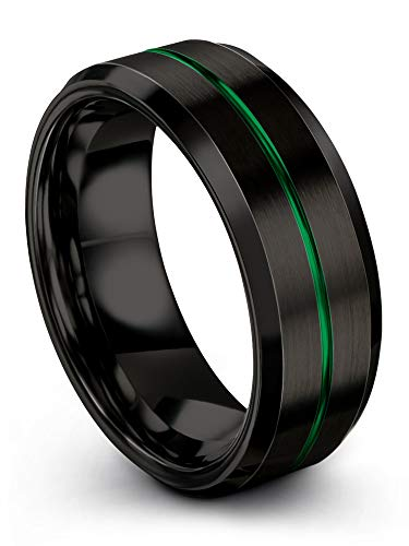 (Chroma Color Collection Tungsten Carbide Wedding Band Ring 8mm for Men Women Black Interior with Green Center Line Bevel Edge Brushed Polished Comfort Fit Anniversary Size 6.5 )
