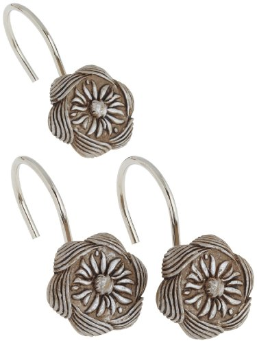 Carnation Home Fashions PHP-AU/03 Auburn Resin Shower Curtain Hooks in Silver, Set of 12, (Resin Shower Curtain Hooks)