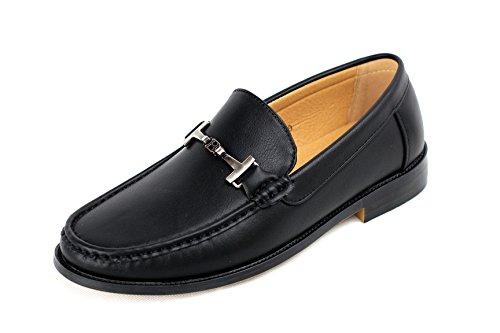 Hombre Cierres Zapatos Mocasines Sin De Conducción Mocasín Inteligentes Negro Cuero Casuales aqaArSw