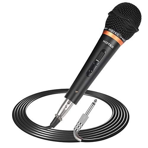 (Hotec Premium Vocal Dynamic Handheld Microphone with 19ft Detachable XLR Cable and ON/Off Switch (Metal Black) (H-W07))