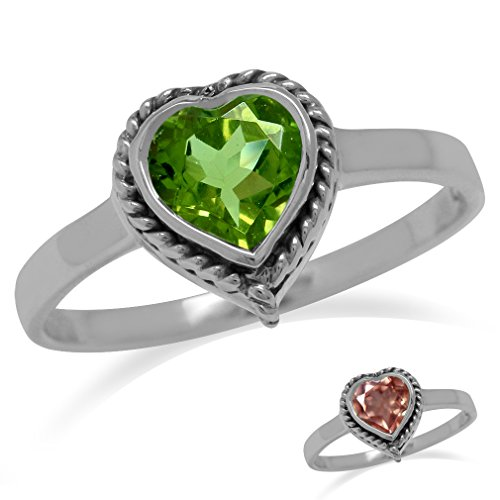 Heart Shape Synthetic Color Change Diaspore 925 Sterling Silver Rope Solitaire w/Antique Finish Ring Size 9