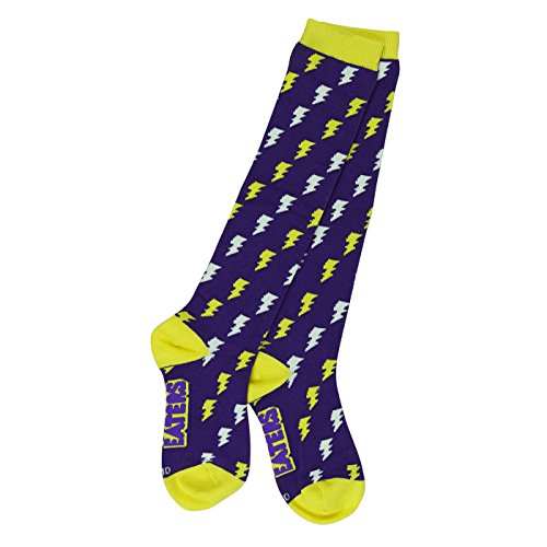 Girls Knee High Socks - Bolts Purple - Funky, Derby, Softball, Soccer, Socks, Purple, MEDIUM (Youth 1-5)
