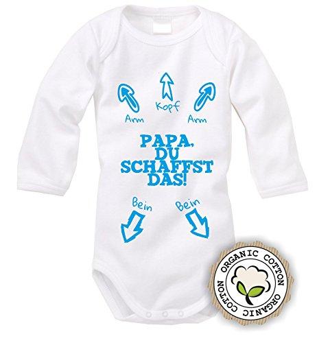 langarm Babybody mit Aufdruck: PAPA DU SCHAFFST DAS! (Blau) (62/68)