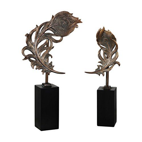 Set Two Bronze Peacock Feather Statues | Sculpture Finial Plume Pair