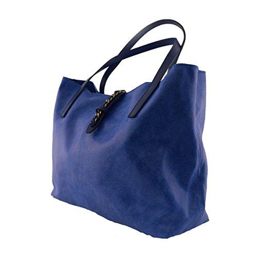 Shopper En Piel Con Cierre De Cremallera Y Broche Color Azul - Peleteria Echa En Italia - Bolso Mujer