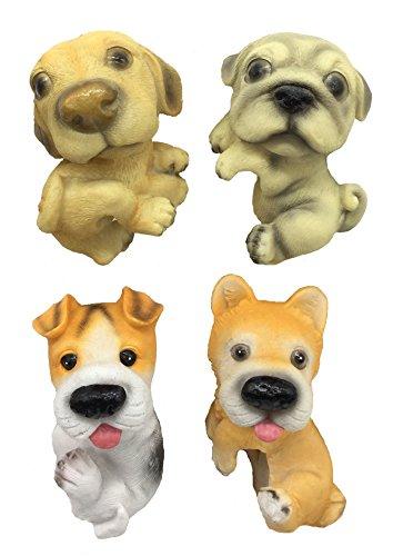 Flowers Garden Dog - FICITI Dog Puppy Garden Statue figurine Flower Pot and Vase Siiters Clingers Hangers - Set of 4
