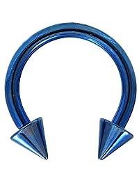 12G (2mm) Blue Titanium IP Steel Circular Barbells Horseshoe Rings w/Spike Ends (Sold in Pairs)