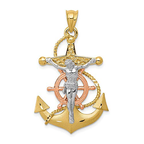14k Tri Color Yellow White Gold Nautical Anchor Ship Wheel Mariners Cross Religious Pendant Charm Necklace Mariner Fine Jewelry Gifts For Women For Her ()