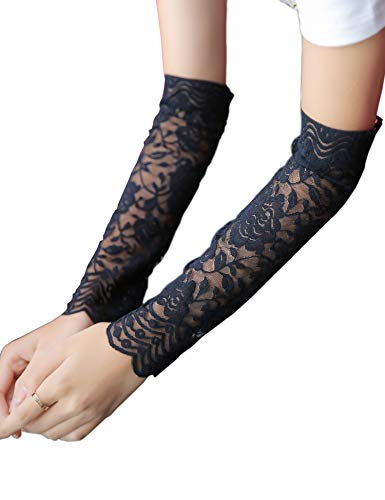 Women Lace Wrist Cuff Bracelet Floral Stretch Wedding Wristbands Tattoo Cover 2 Pcs Set (Black - Half Arm)