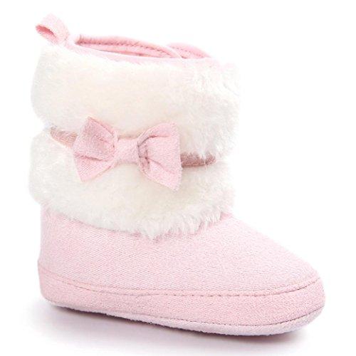 Clode® Kleinkind Baby Mädchen Warm halten Doppelstock-Quasten Schneestiefel Weiche Sohlen Krippe Schuhe Kleinkind-Stiefel (11/0 ~ 6 Monate, Rosa)
