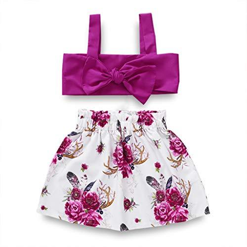 (Toddler Little Girl Halter Off Shoulder T-Shirt Tops Floral Short Pants Summer Outfit Set (Purple T-Shirt Floral Skirts 2PC Set, 2-3 Years))