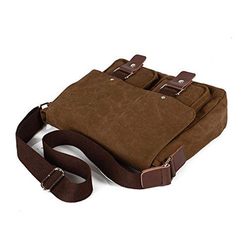 Bolso de Crossbody de la lona del vintage de los hombres Bolsa Messenger del ordenador portátil (Brown2) Brown1