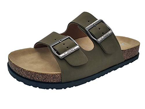 LAVAU Women's 2-Strap Leather Sandals, Slip-on Adjustable Strap Footbed Sandals, Causal Style SSBK01-W-lv-10 ()