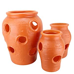 3 Piece Strawberry Jar Set: Terra Cotta Color Plastic Planters - Made in the USA!