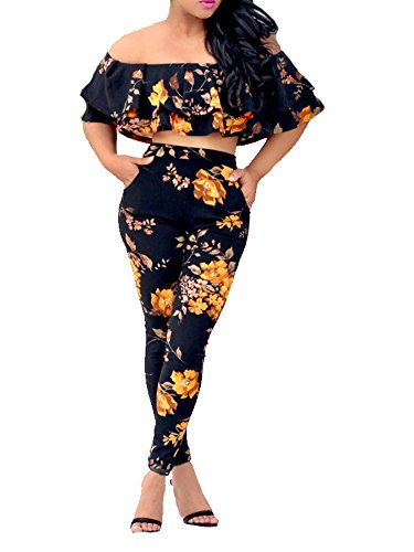 (YouSexy Women's Floral Print Off Shoulder Top Casual Bodycon Stretch High Waist Long Pants 2 Pieces Jumpsuit)