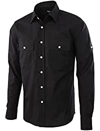 Men's Premium Casual Stretch Long Sleeve Solid Button-Down Work Shirt