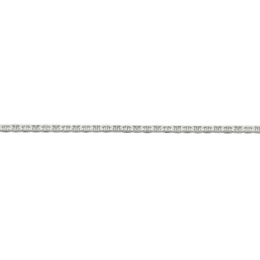 3mm Solid Concave Anchor Chain Bracelet in 14k White Gold, 8 Inch