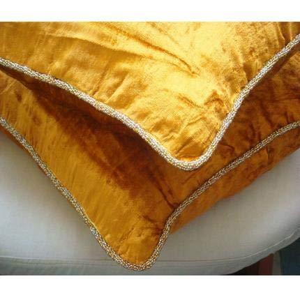 Gold Shimmer - european-square Ein Goldener Samt Euro Sham Sham Sham Kissenbezug mit handfertigtem Perlenrand B003QABTS8 Zierkissenbezüge 0e7ad5