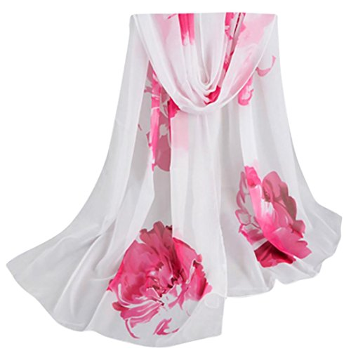 Lavany Elegant Women's Chiffon Scarf Floral Prints Soft Shawl Scarves (White) - White Floral Scarf