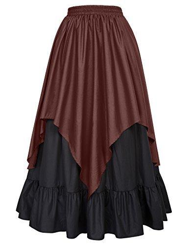 Belle Poque Women Renaissance Pirate Costume Victorian Gothic Skirt BP467-2 L by Belle Poque