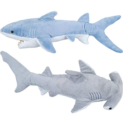 Bedwina Stuffed Animal Sharks - Pack of 2 Large, 14 inch Mako & 13 inch Hammerhead Plush Shark Toys, Stuff Animals Toy Be Ready Shark Week, for Baby Toddlers & Kids -