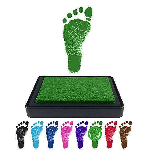ReignDrop Ink Pad for Baby Footprint, Handprint, Create Impressive Keepsake Stamp, Non-Toxic and Acid-Free Ink, Easy to Wipe and Wash Off Skin, Smudge Proof, Long Lasting Keepsakes (Green)