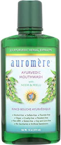 Ayurvedic Mouthwash by Auromere - Fluoride-Free, Alcohol-Free, Natural, with Neem and Vegan - 16 fl oz (16 oz - pack of 2)