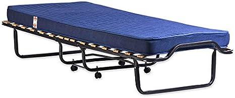 Dormiflex Cama para invitados - Cama plegable muy robusta completa con colchón ortopédico, somier de láminas y lona para cobertura. 80 x 200 cm.