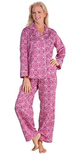 Floral Satin Pajamas (Miss Elaine Women's Printed Brushed Back Satin Pajama, Wine Floral Tile Print, Large)