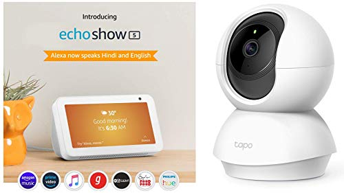 Echo Show 5 (White) bundle with TP-Link indoor security camera