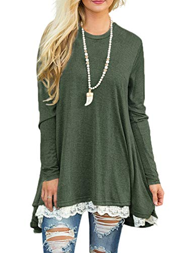Sanifer Women Lace Long Sleeve Tunic Top Blouse (Medium, Green)