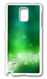 MOKSHOP Adorable green glow lines circles Hard Case Protective Shell Cell Phone Cover For Samsung Galaxy Note 4 - PC White