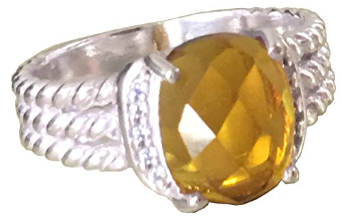(GEMPARA Designer Inspired Twisted Cable 10x8mm Citrine Cushion Ring Size 9 (7))