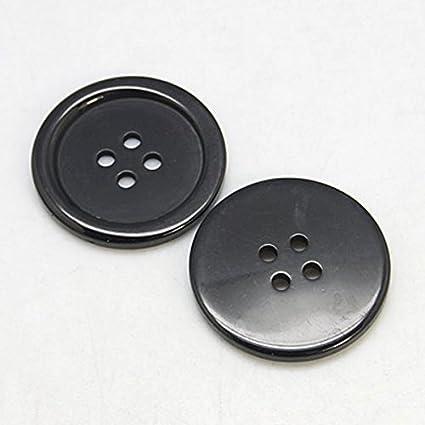 10 x 10 mm Chemise noire boutons 4 trous rond