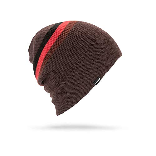 Volcom Men's Apres Stripe Roll Over fit Beanie, Black/red, One ()