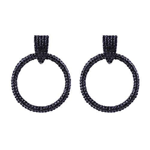 Dragonfly Earrings Sapphire (Yeefant 1 Pair Circle Shaped Pendant Steel Stud Diamond Jewelry Earring for Girl,Black)
