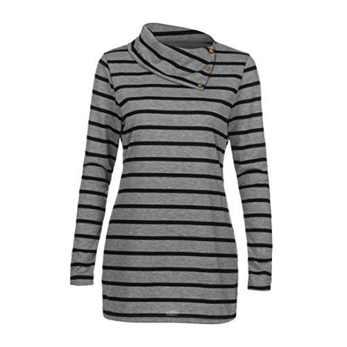 HUHU833 Tee Shirt Femme Casual Lâche Rayures à Manches Longues Mode Tops Chic Sweater Tee-Shirt Blouse