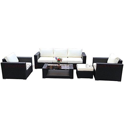 Price comparison product image Do4U 7pcs Outdoor Patio Garden Rattan Wicker Sofa Set Sectional Furniture Set(Brown Rattan w / Beige Cushion)
