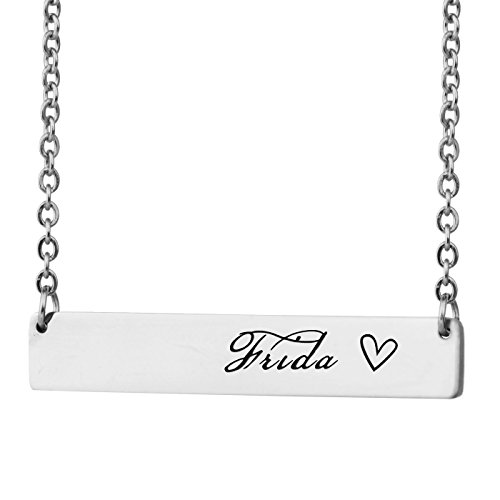 (HUAN XUN Personalized Bar Custom Name Necklace Frida Personal Womens Jewelry Birthday Gift)