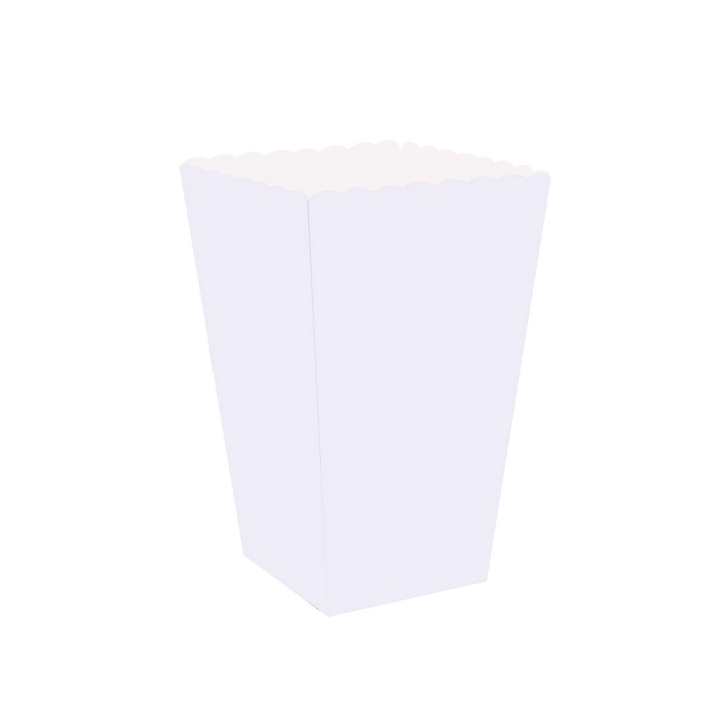 NUOLUX 100pcs White Popcorn Boxes Cartons Paper Bags Food Paper Holder Containers for Movie Theater Dessert Tables Wedding Favors